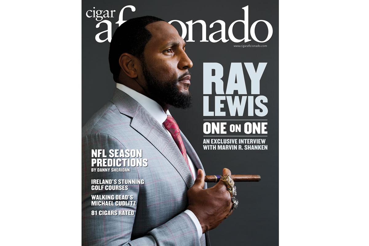 Ray Lewis on the cover of Cigar Aficionado's October 2016 issue.