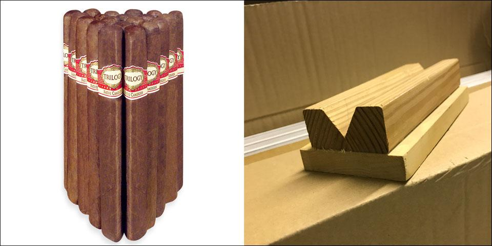 Alan Rubin crafted Alec Bradley Trilogy, left, using this homemade wooden mold, right.