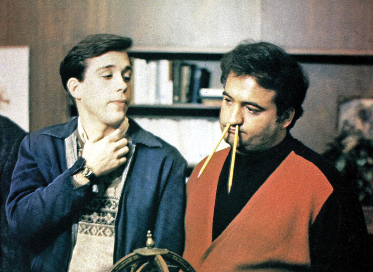 Pinto and Bluto (Hulce and Belushi, right) in Dean Wormer's office.