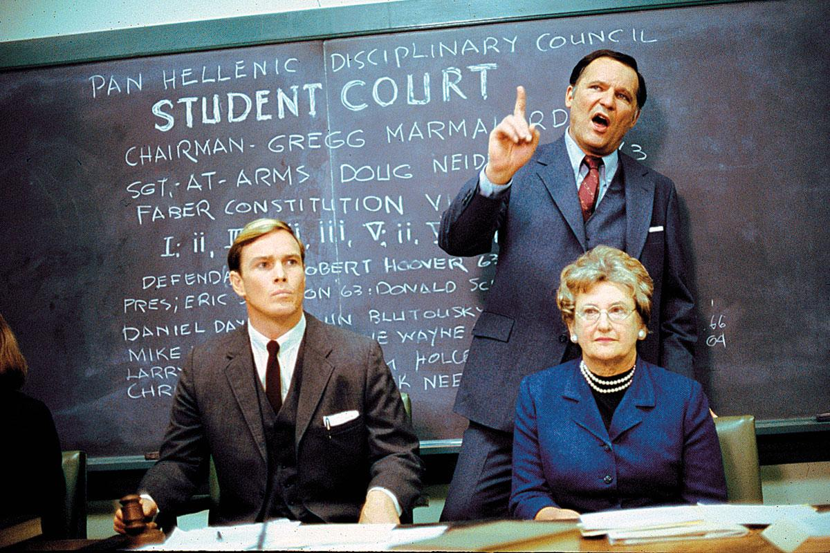 The Delta's chief nemesis is Dean Wormer (top right), played to perfection by veteran actor John Vernon.