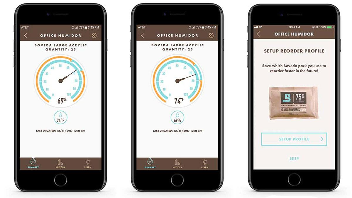 The Smart Sensor allows users to monitor relative humidity, left, and temperature, center, in real time. There is also a reorder feature, right, for Boveda humidity packs.