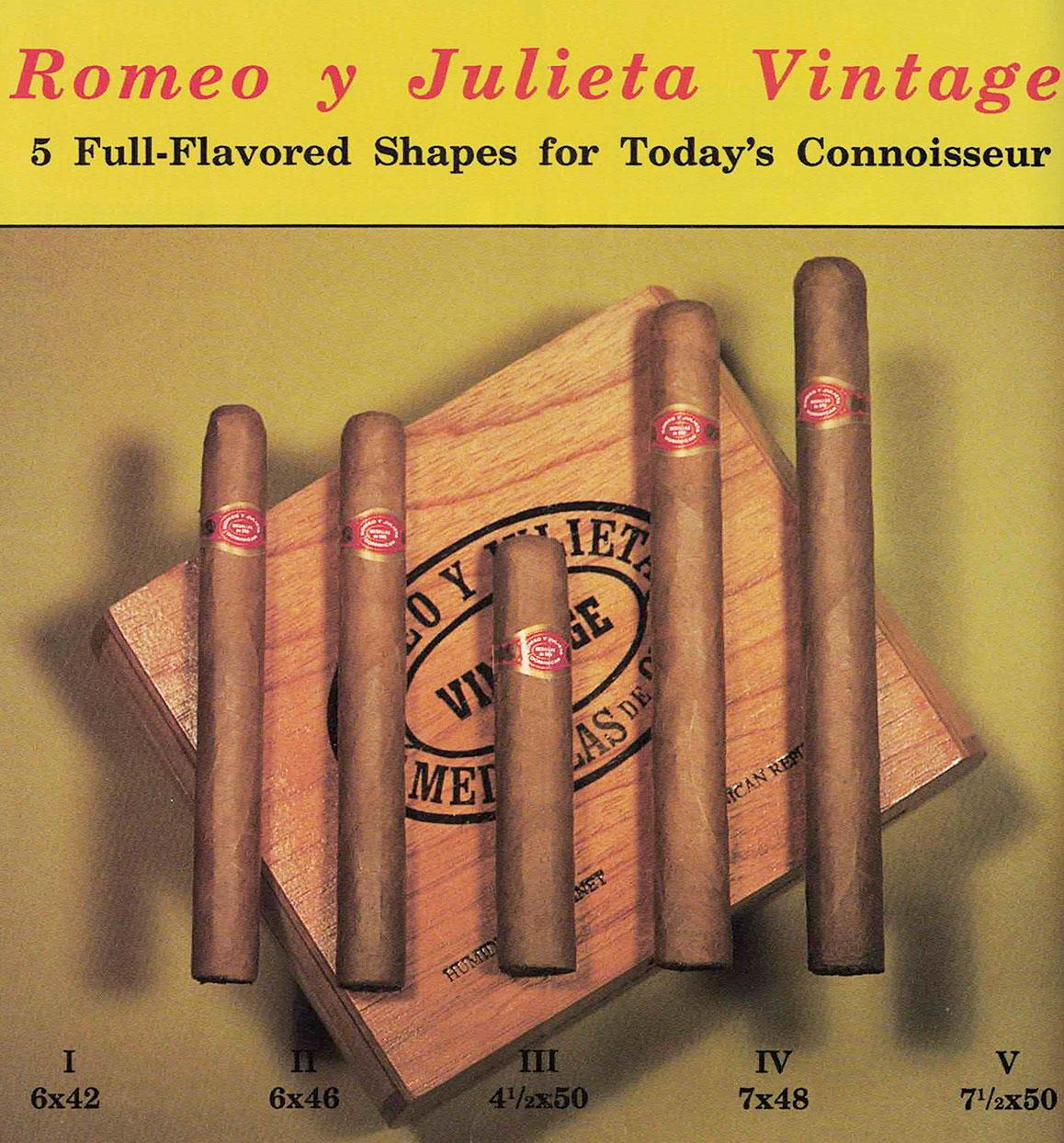 A photo from an old brochure promoting the Romeo y Julieta Vintage line. It was made by Manuel Quesada for Hollco Rohr in the 1990s.