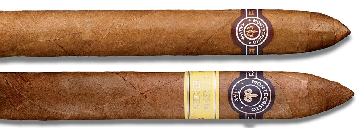 A Cuban Montecristo No. 2 (top) next to a Dominican Montecristo Classic No. 2 Torpedo (bottom).