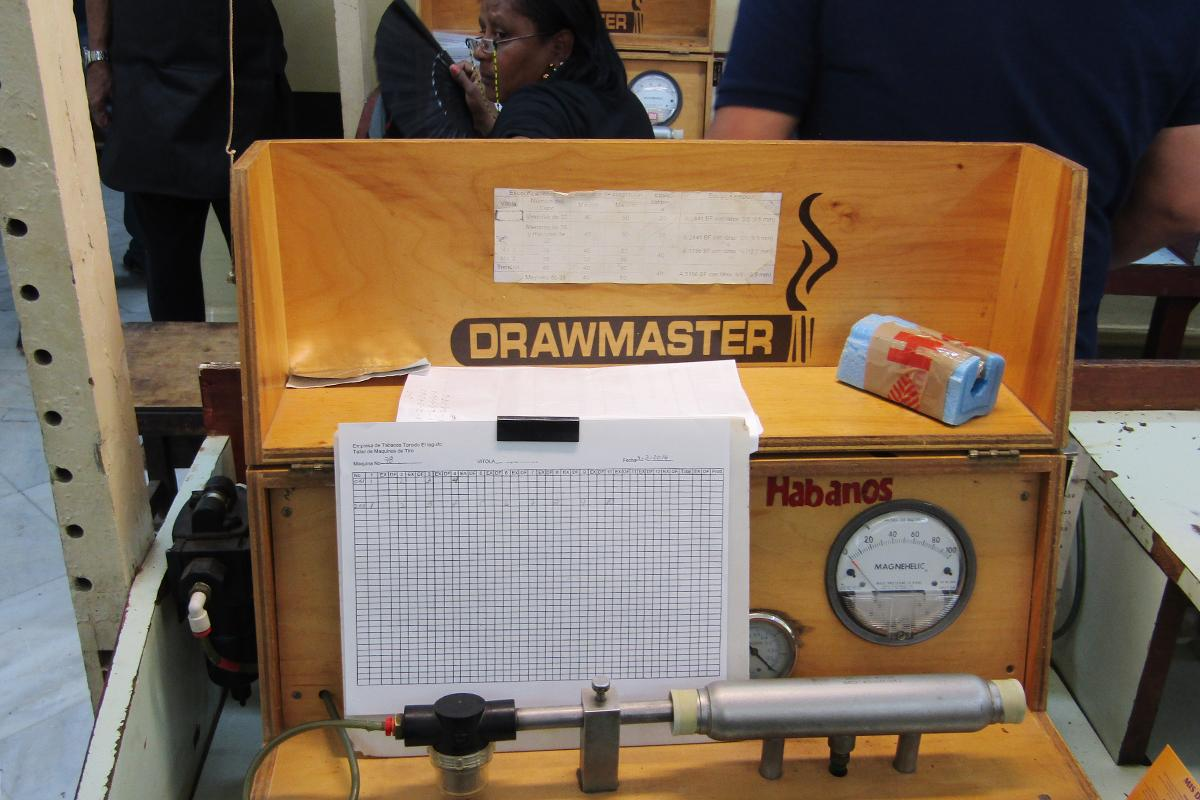 The Drawmaster machine inside one of the quality control rooms aims to weed out plugged cigars.