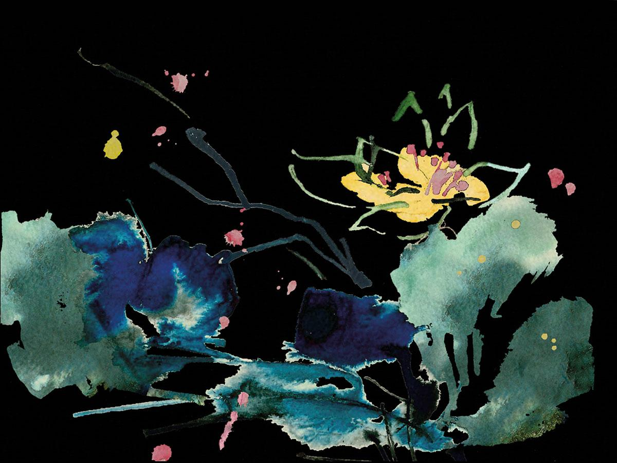 The prospective box artwork for Moon Garden, which was inspired by Japanese watercolor pieces.