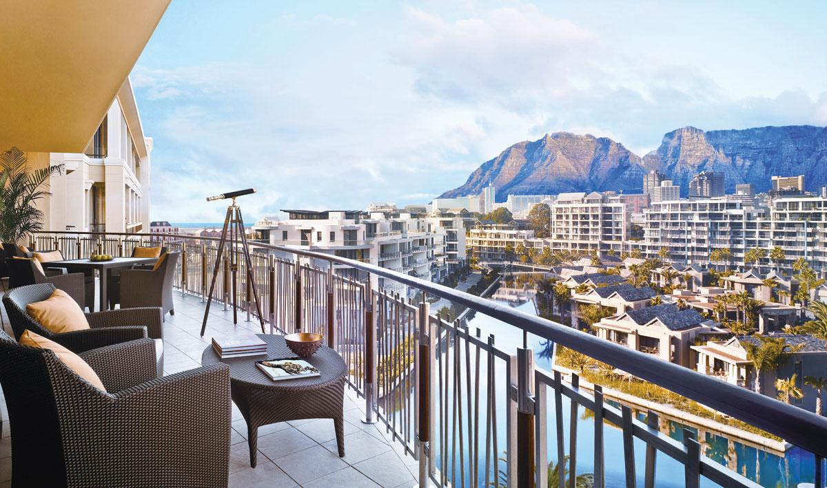 The One&Only Cape Town Resort offers spectacular views of South Africa's Table Mountain from the balcony of a suite.