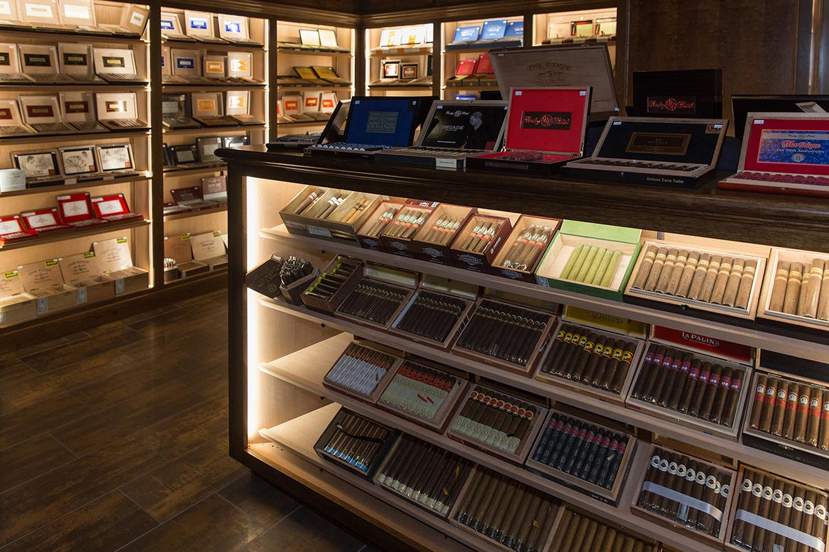 The humidor at Burn carries a large portfolio of Rocky Patel branded cigars, as well as a variety of third-party smokes.