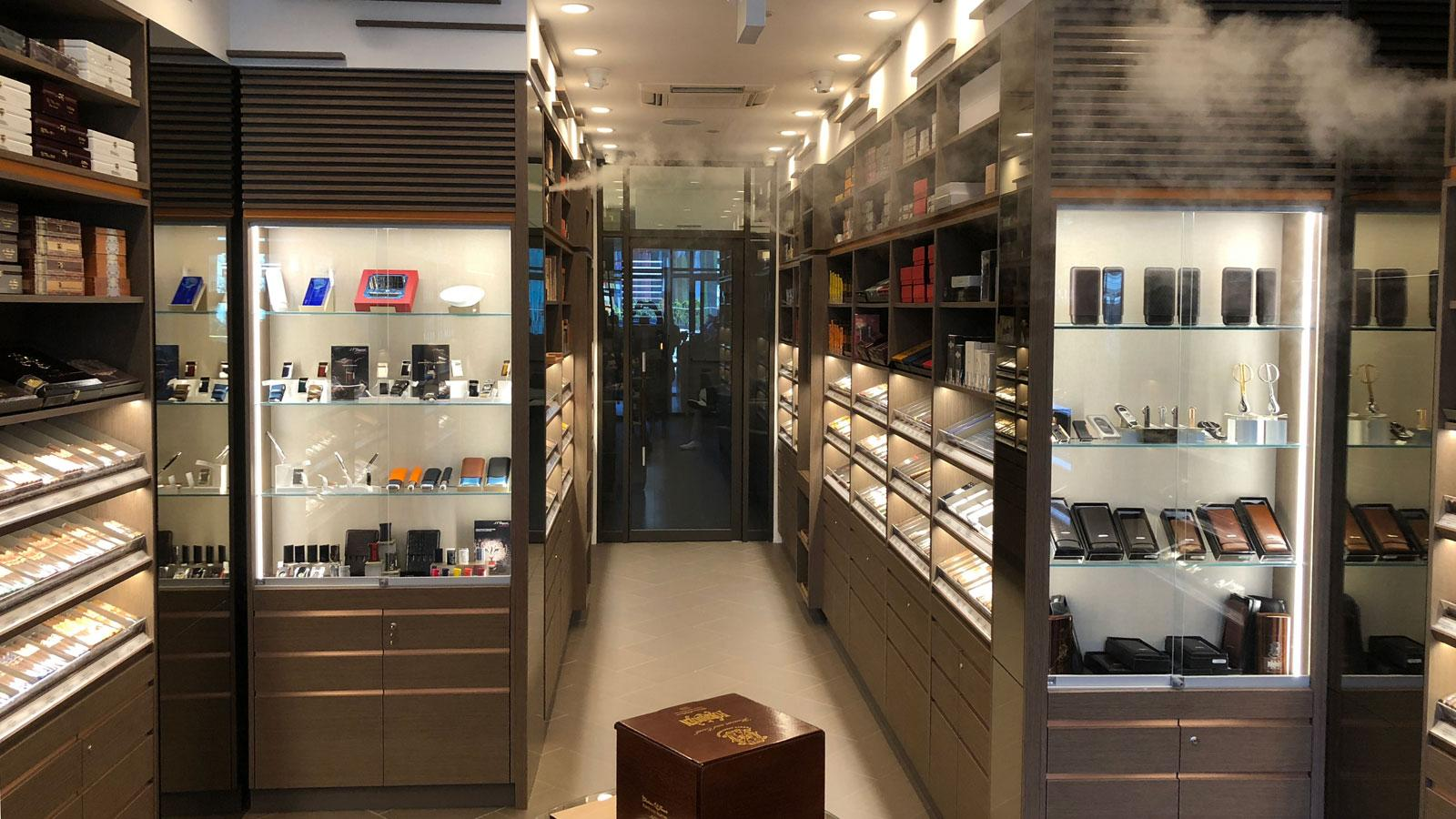 The shop features a 2,000-square-foot retail space, smoking lounge and walk-in humidor.