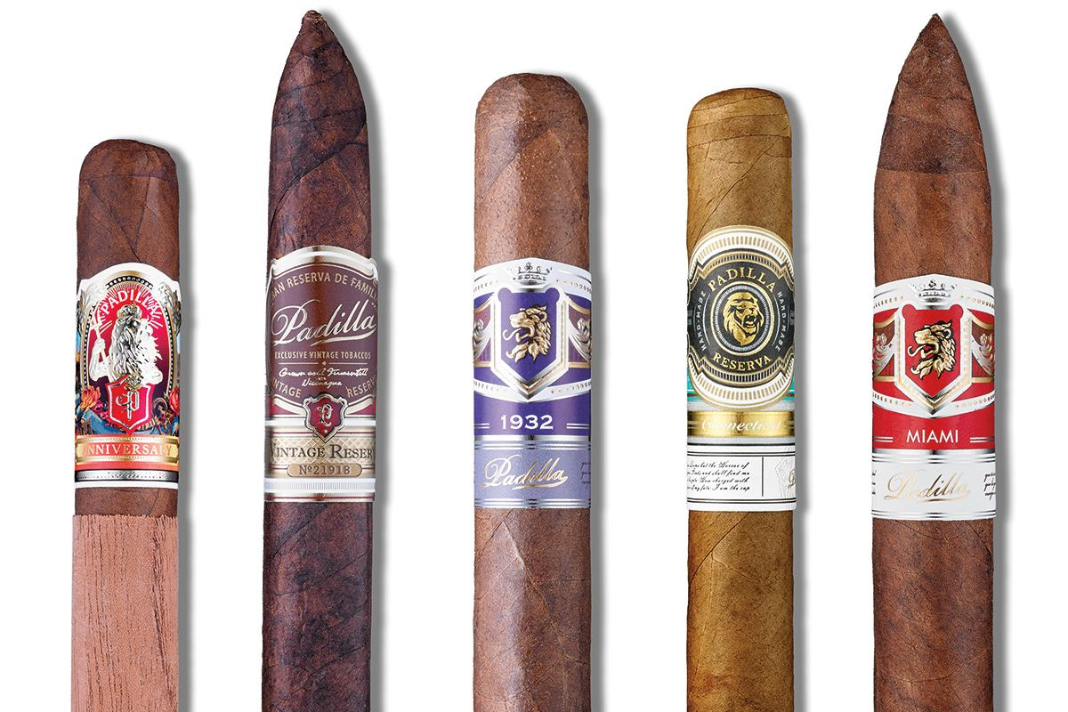 Padilla Cigar Co.'s portfolio of brands includes cigars like, from left, Anniversary, Vintage Reserve, 1932, Connecticut and Miami.
