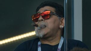 Maradona Enjoys Cigar At World Cup