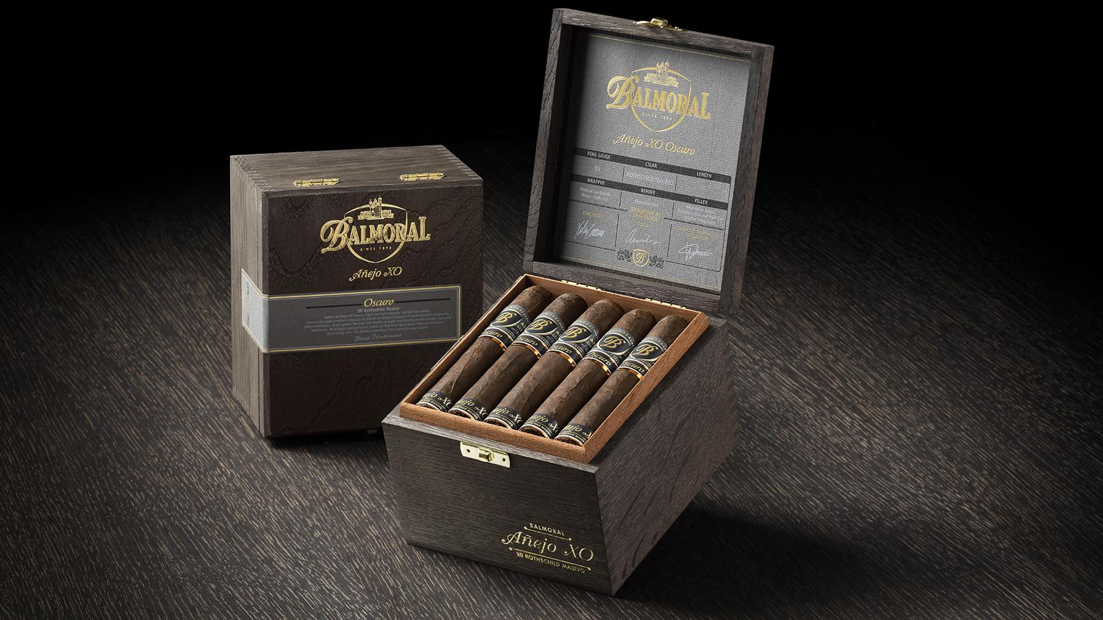 Balmoral Añejo XO Oscuro has a Mexican San Andrés wrapper, Dominican binder and filler from Nicaragua, the Dominican Republic and Brazil.