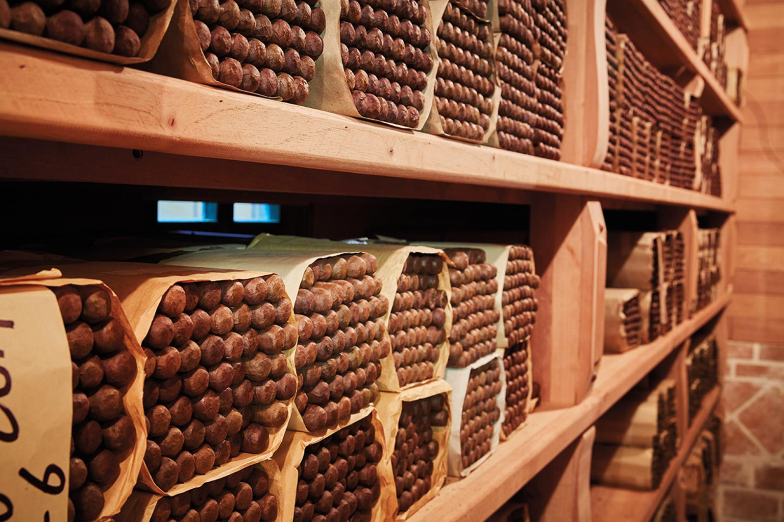 Cigars rest inside one of the many new cavernous aging rooms.