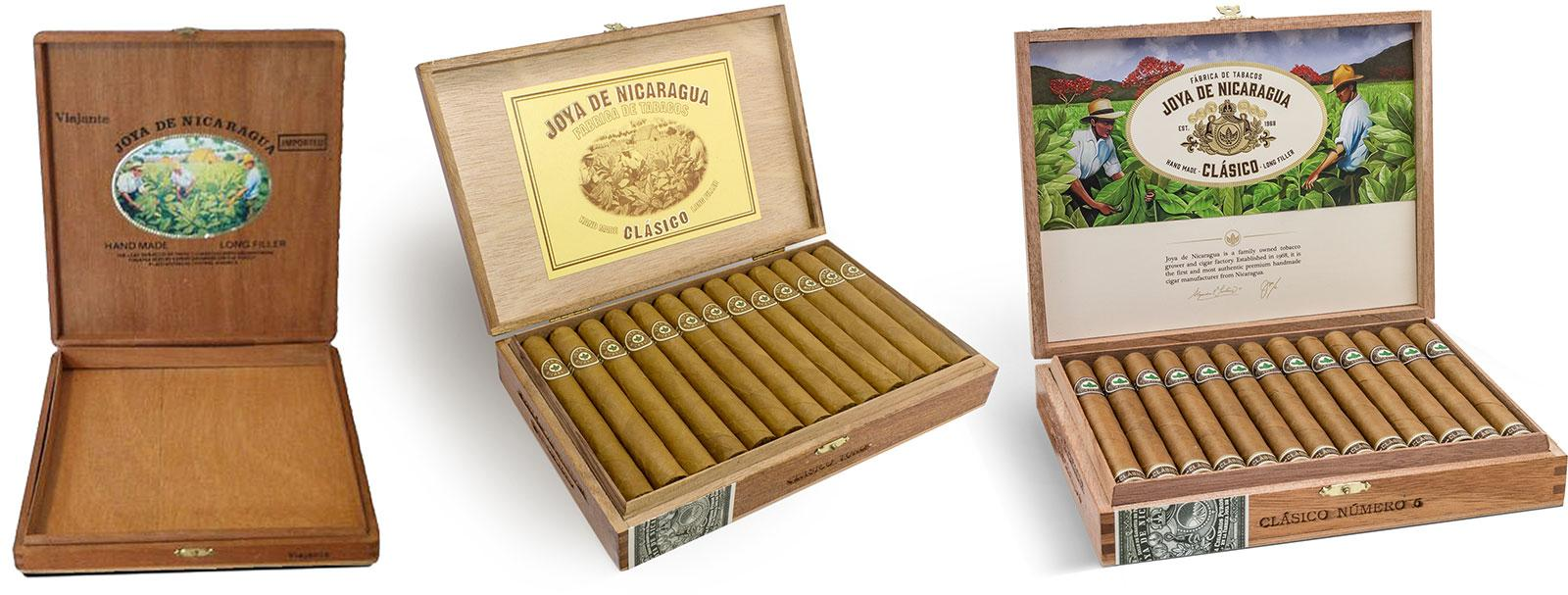 The redesigned packaging of Joya de Nicaragua Clásico, right, pays homage to the brand's previous iterations, left and center.