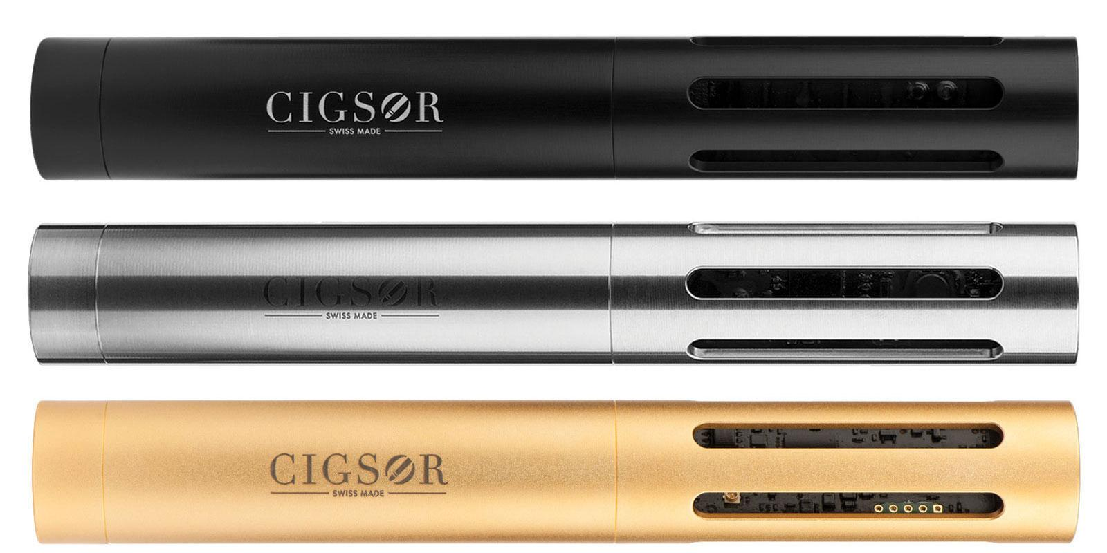 The Cigsor comes in three different designs, from top: Classic, made from anodised aluminum; Premium, made from stainless steel; and Luxury, which is plated in 18 karat gold.
