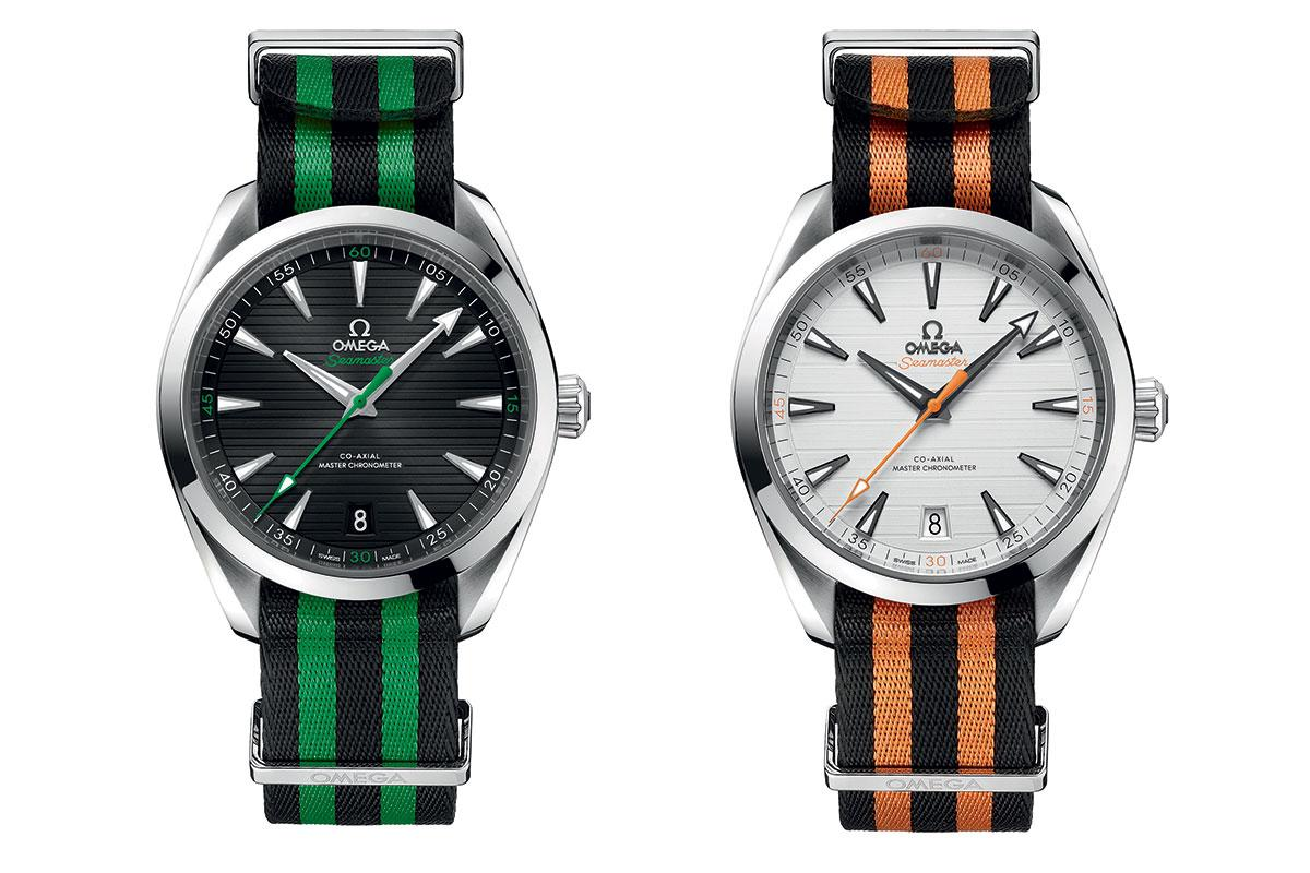 The Seamaster Aqua Terra Golf models, in black with green accents for Sergio Garcia, left, and white with orange accents for Rory McIlroy, right.