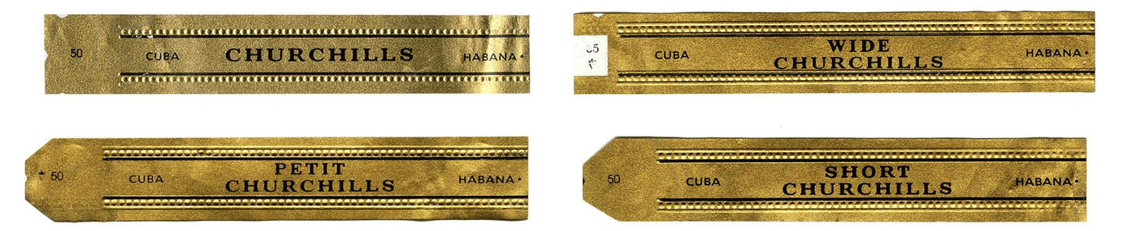 Secondary bands appear on Romeo y Julieta's Churchill line. Clockwise from top left: Churchill, Wide Churchill. Short Churchill, Petit Churchill.