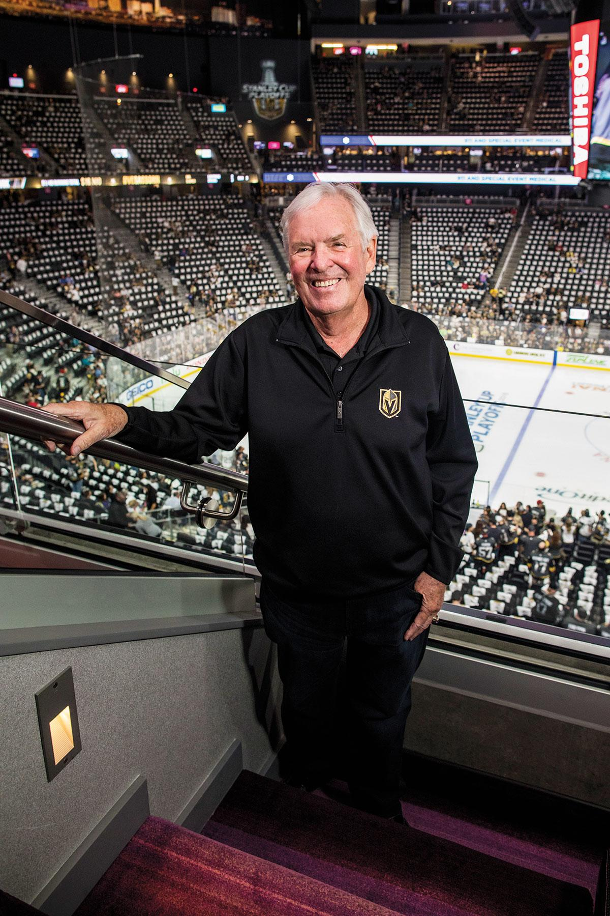 Team owner Bill Foley above the home ice at T-Mobile Arena.