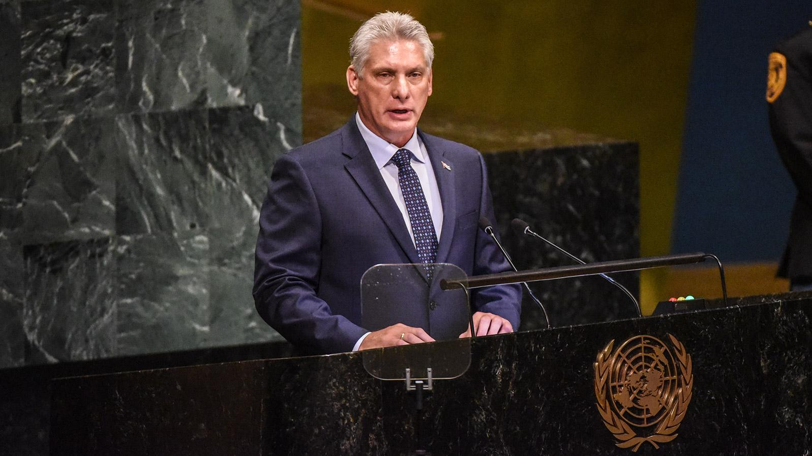 Cuban President Miguel Díaz-Canel Denounces Cuban Embargo During U.N. Visit