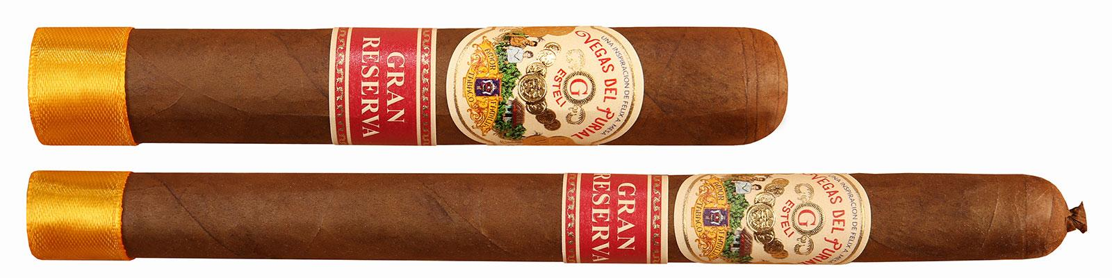 Vegas del Purial Gran Reserva's Robusto (top), measuring 5 inches by 50 ring gauge, and Lancero (bottom), 7 by 38.