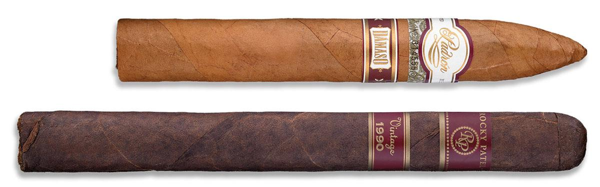 The mild-to-medium Padrón Dámaso No. 34 (top) and the fuller bodied Rocky Patel Vintage 1990 Churchill (below).