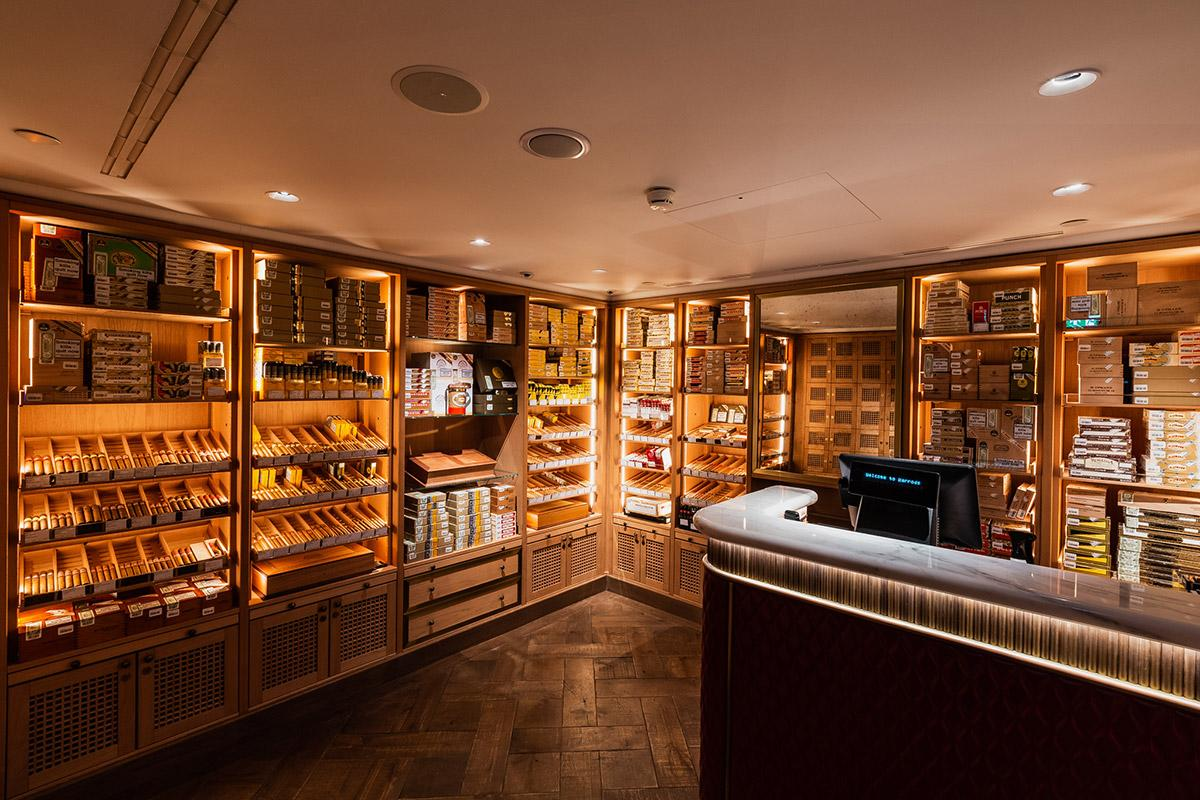 The 200-square-foot, walk-in humidor holds a large inventory of Cuban cigars.