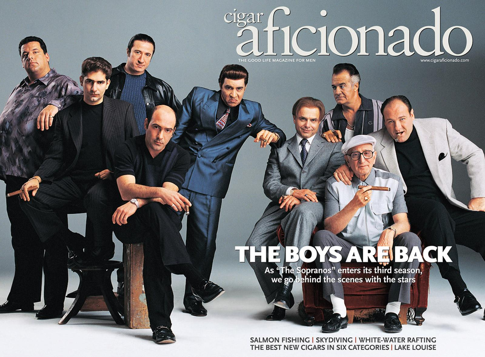 The cast of The Sopranos on the cover of Cigar Aficionado in April 2001.