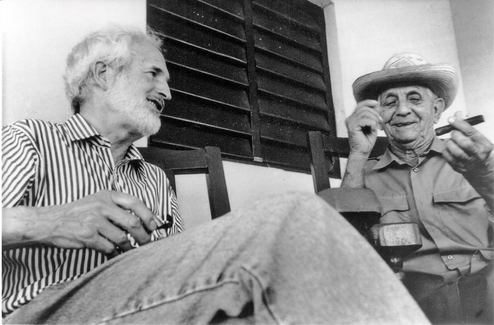 Villiger with legendary grower Alejandro Robaina on the porch of his Cuban farmhouse.