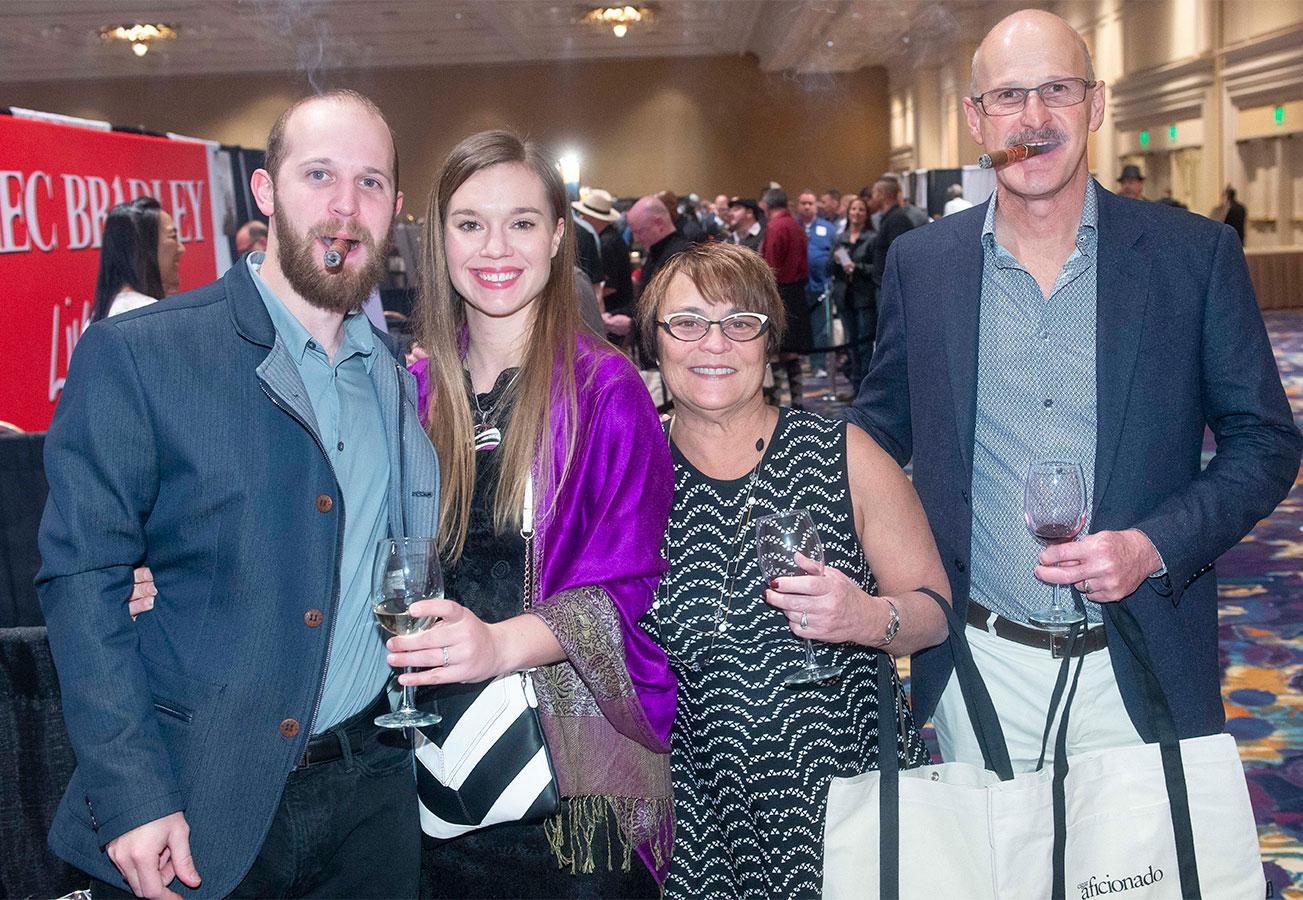 The Rietueld family—Kyle, Katie, Patty and Bob—came all the way from Idaho to sip wine and smoke cigars at the Big Smoke.