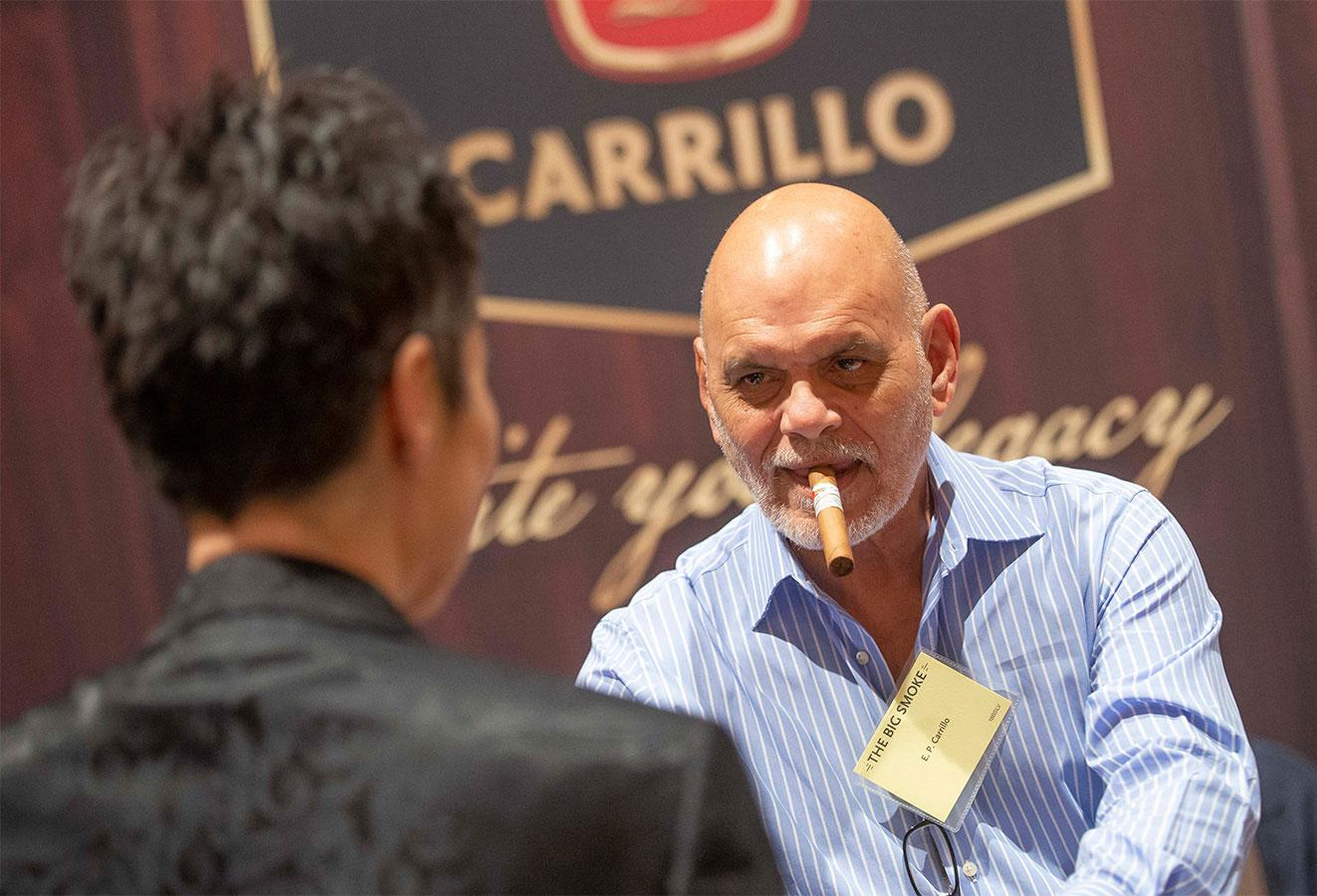 Cigarmaker Ernesto Perez-Carrillo greets fans at the E.P. Carrillo booth.