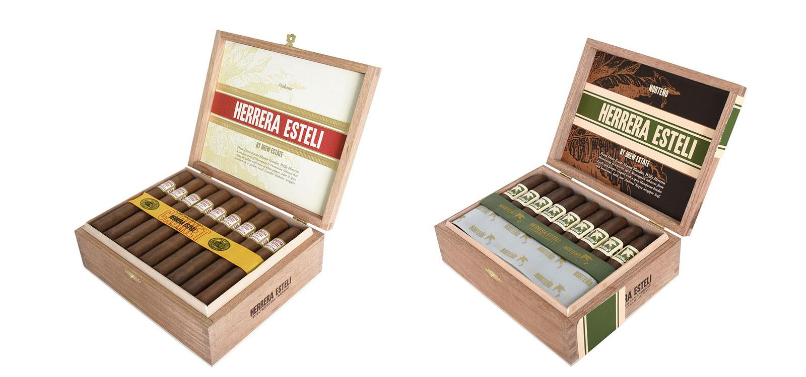The newly redesigned packaging for Herrera Esteli Habano (left) and Norteno (right).
