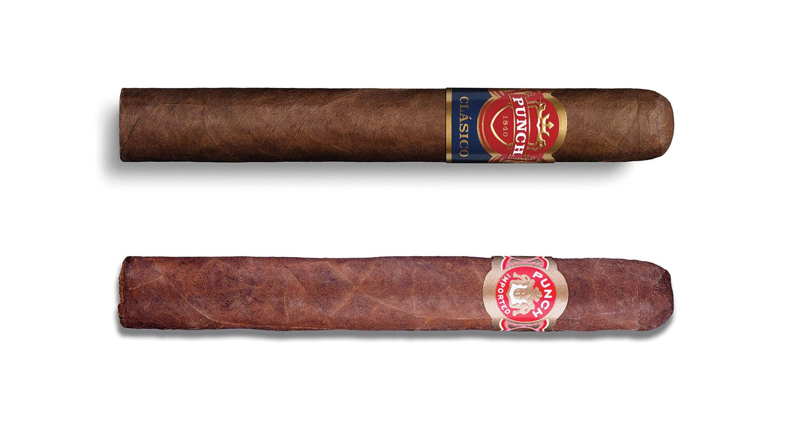Side by side comparison of old and new Punch cigar logos.