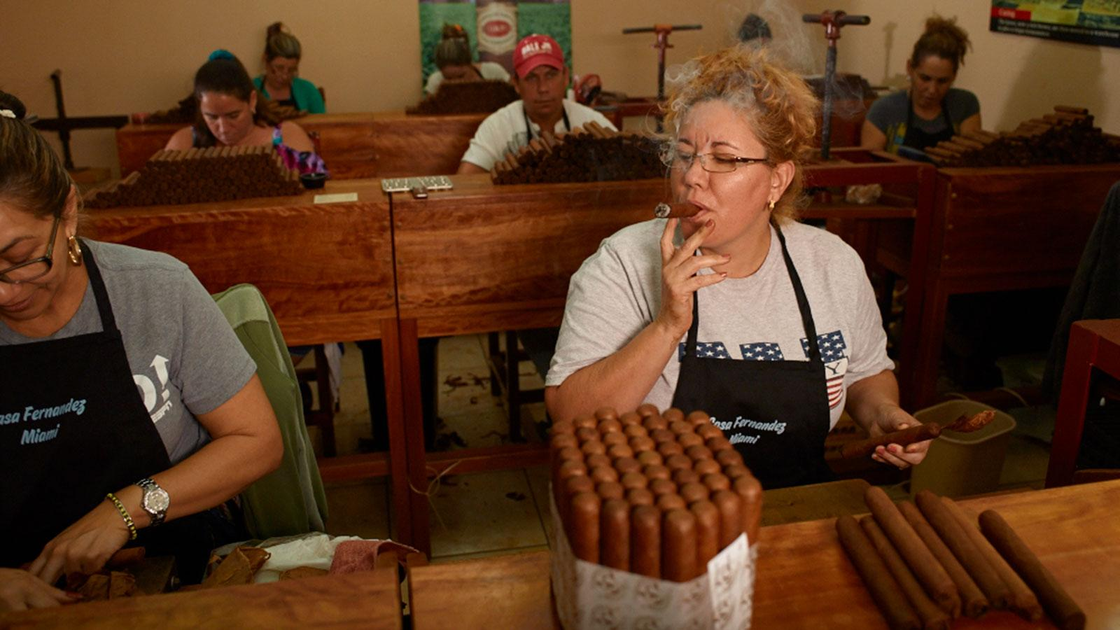Photo of inside Aganorsa Leaf cigar factory in Miami, Florida.