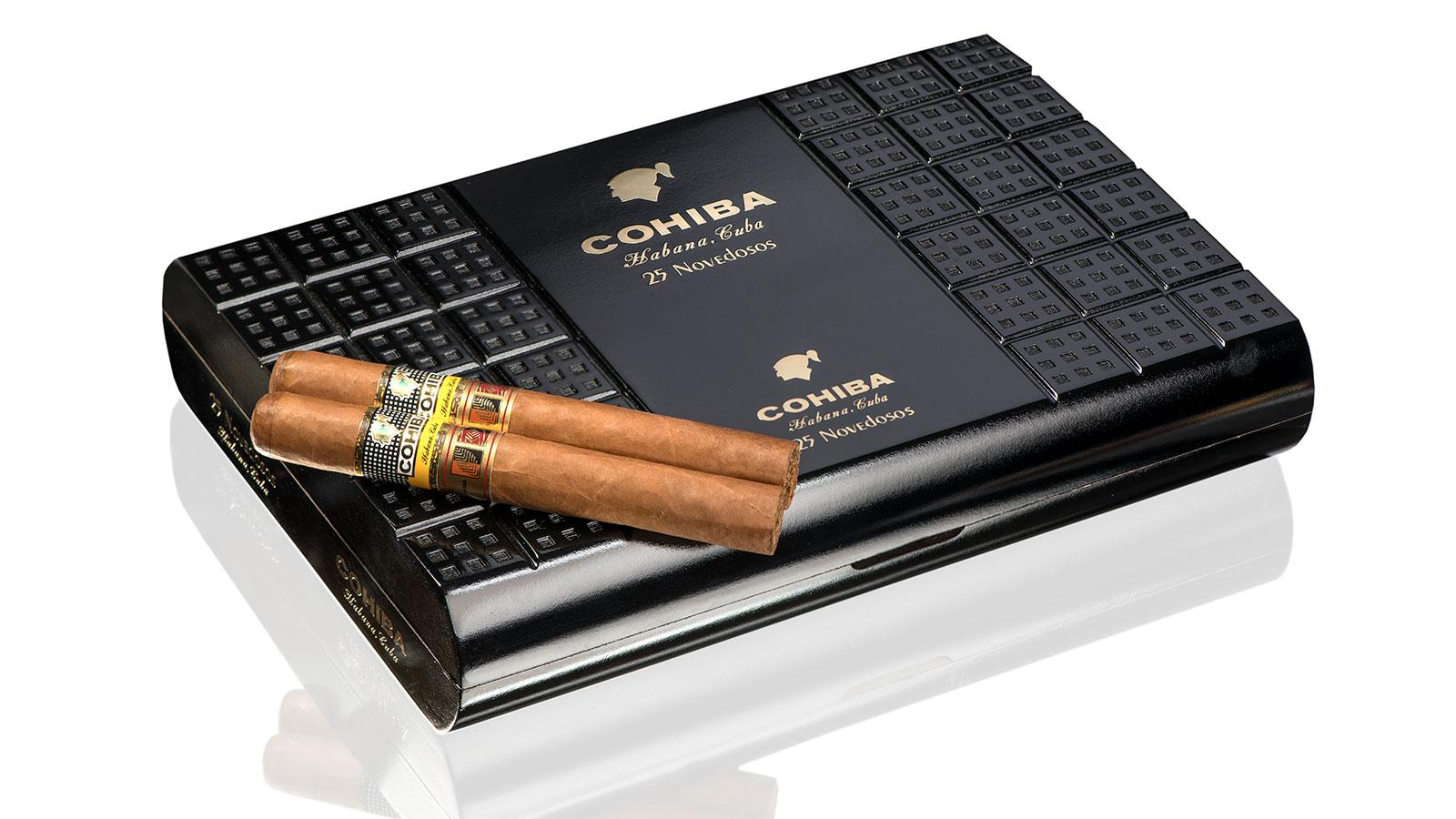 The Cohiba Novedosos, which measures 6 inches by 50 ring, will be shipped in uniquely styled boxes of 25.
