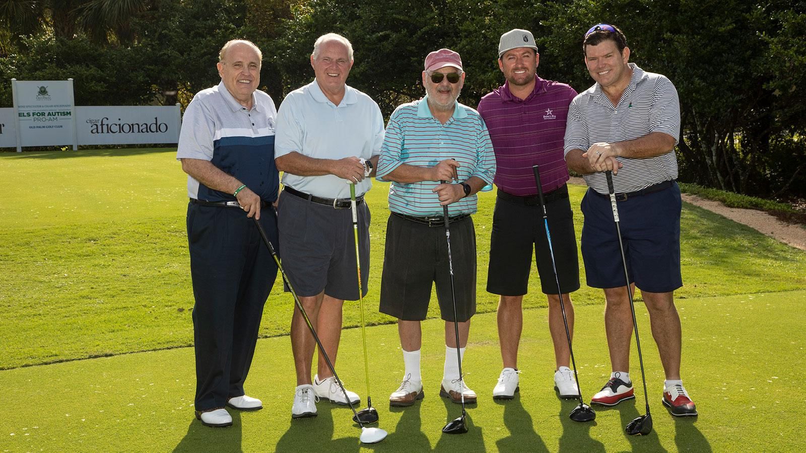 Marvin R. Shanken (center) led the team of Rudolph W. Giuliani, former Mayor of New York; radio star Rush Limbaugh; pro golfer Graeme McDowell, winner of the 2010 U.S. Open; and Fox News anchor Bret Baier.