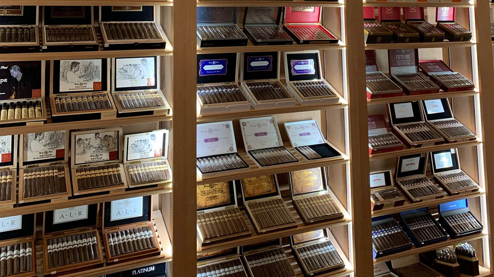 The humidor at Burn carries a large variety of Rocky Patel cigars