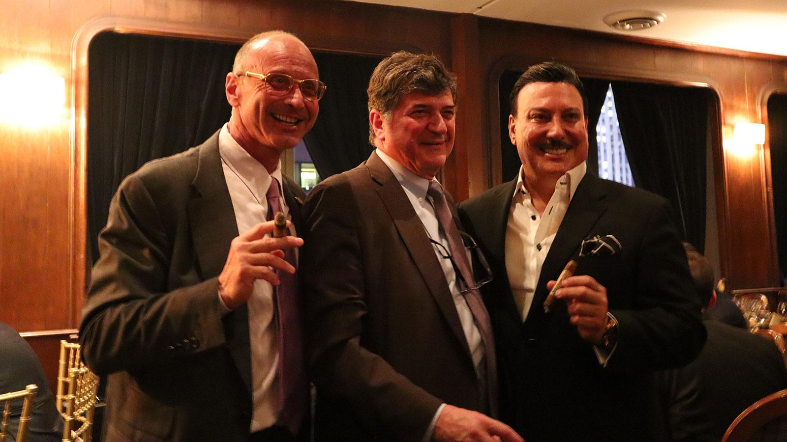 "Dr. Jude Barbera, Fuente fan and cigar enthusiast Dr. Gary Giangola and Carlos ""Carlito"" Fuente Jr."