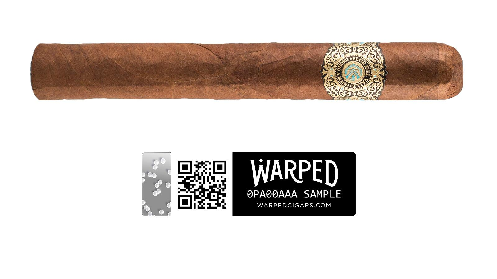 An anti-counterfeit label will now come affixed to the cellophane sleeve of limited-edition Warped cigars like the Sky Flower (shown). Note the effervescent bubble pattern on the security seal.