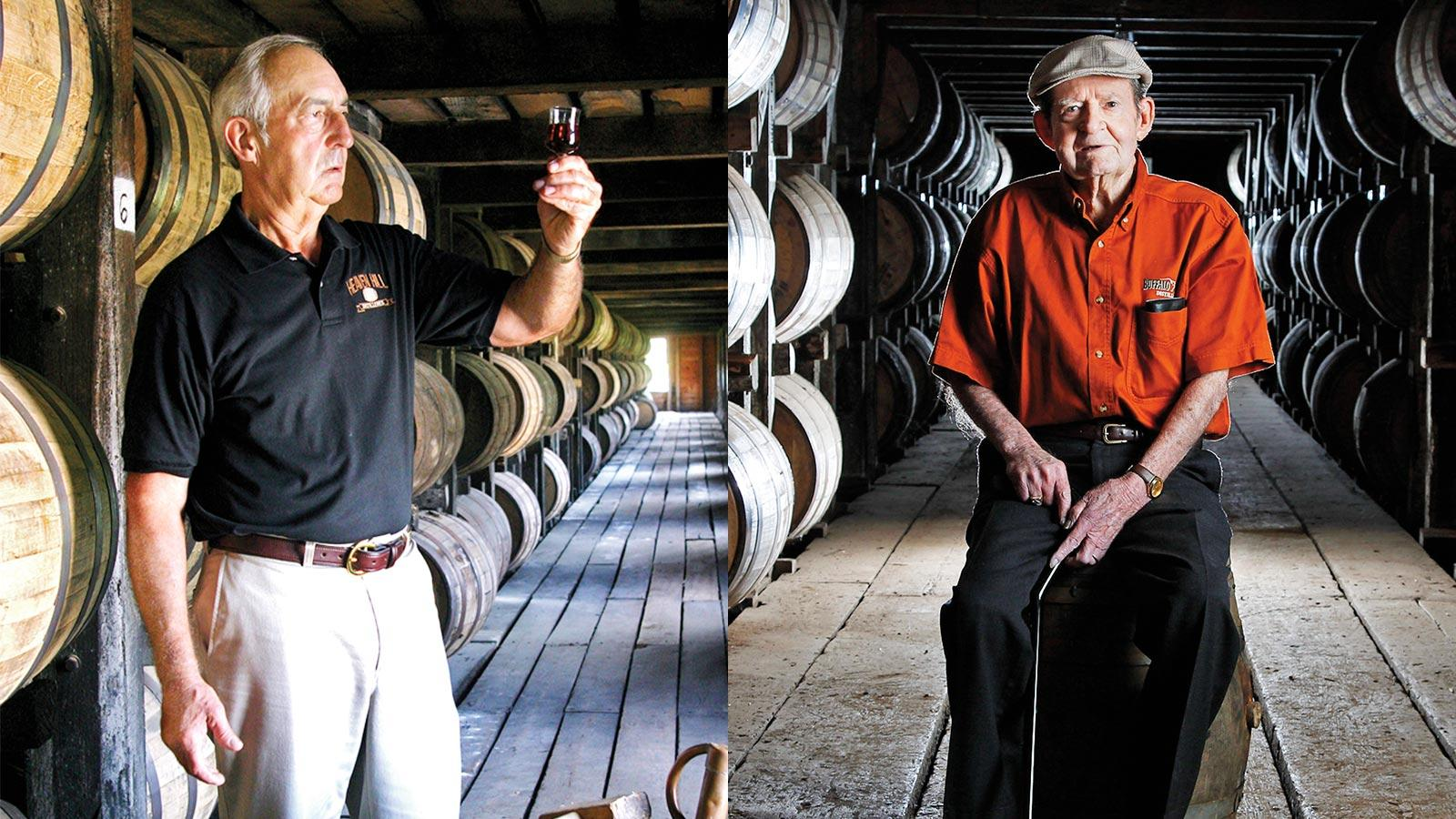 Departed legends Parker Beam (left) and Elmer T. Lee (right) saw the ups and downs of Bourbon.