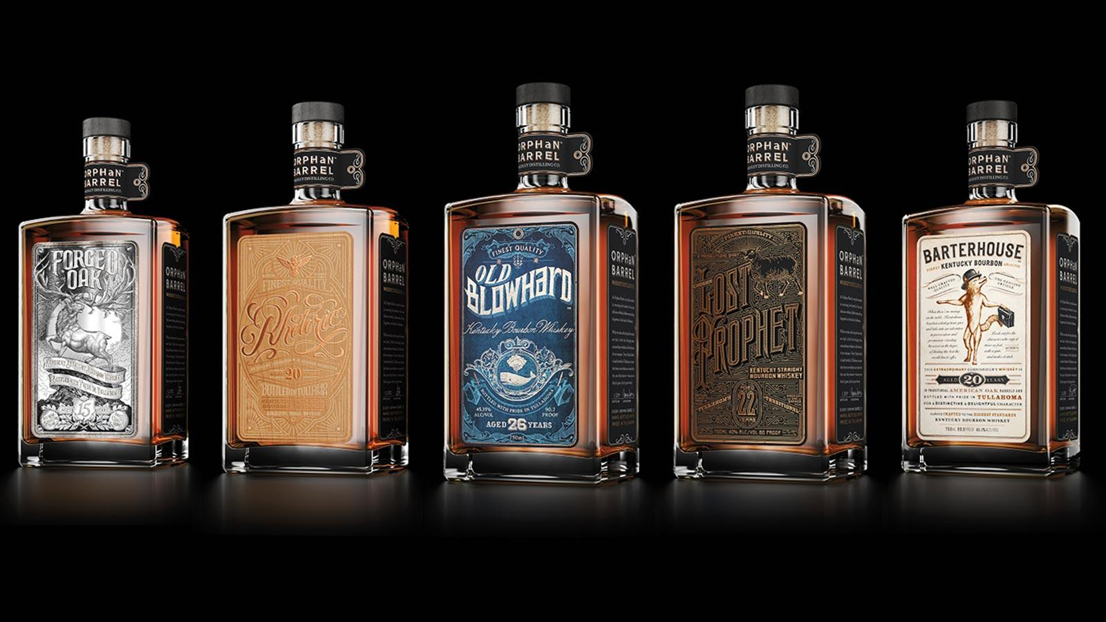 A lineup of once forgotten Bourbons, from the Orphan Barrel line.