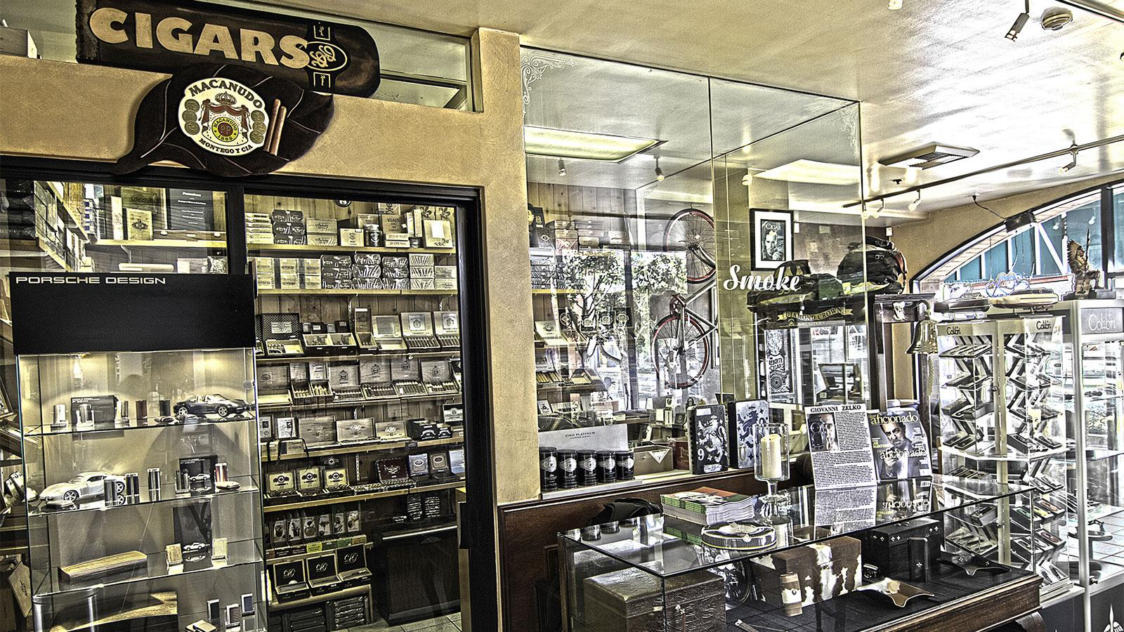 The humidor is visible from anywhere in the store and holds a selection of fine cigars brands such as Liga Privada, Tatuaje and Joya de Nicaragua.