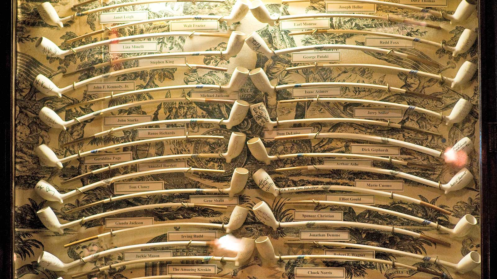 Keens, a New York City institution, is decorated with more than 45,000 clay pipes accumulated over the landmark's 13-decade run. They adorn the walls and nearly every inch of the ceiling.