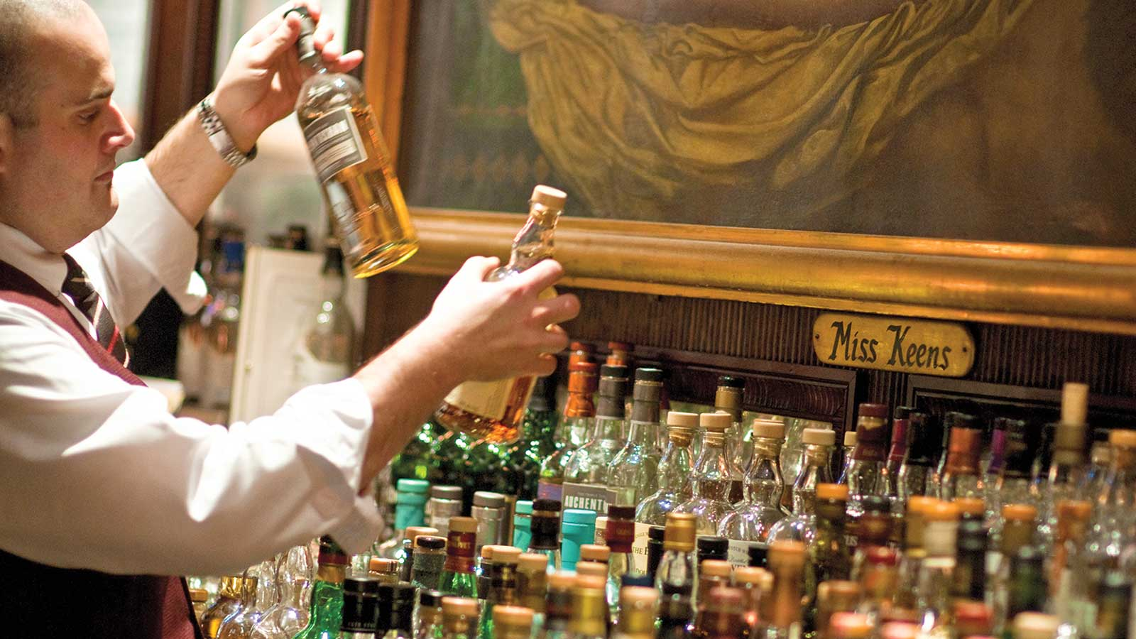 Keens has a long list of whiskies, with around 240 single-malt Scotches alone.