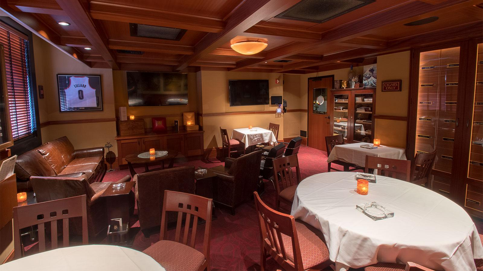 In the lounge, which seats 25, you'll be able to enjoy a cigar and a drink and watch the game.