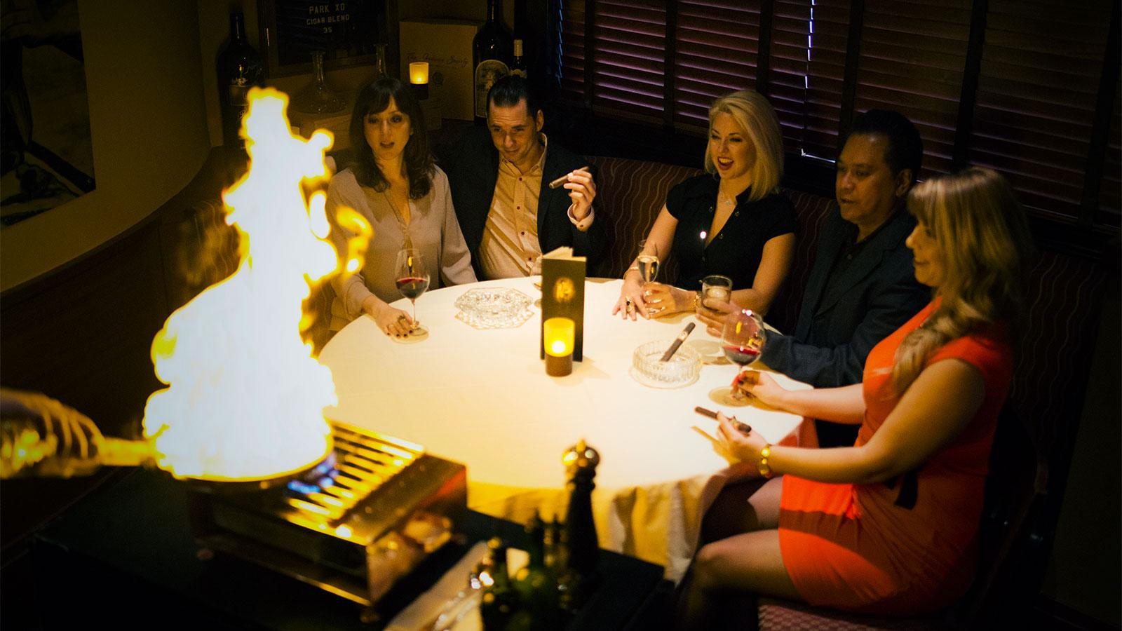 Along with an extensive list of cigar and drink offerings, guests can also choose from a bar bites menu available only in the cigar room.