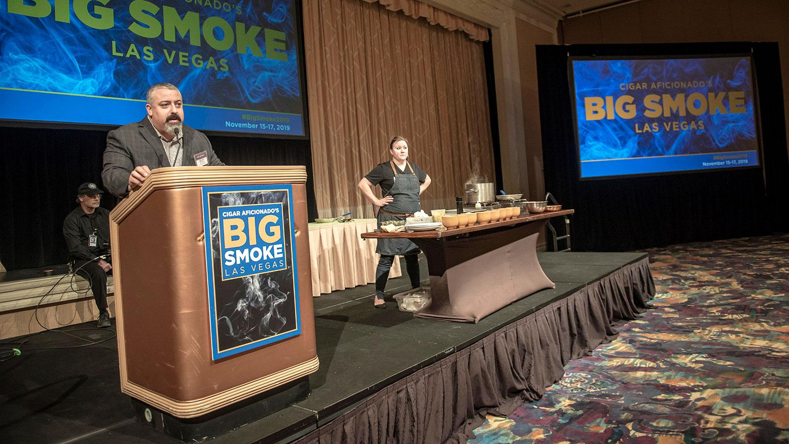 Greg Mottola introducing Chef Nicole at Big Smoke 2019