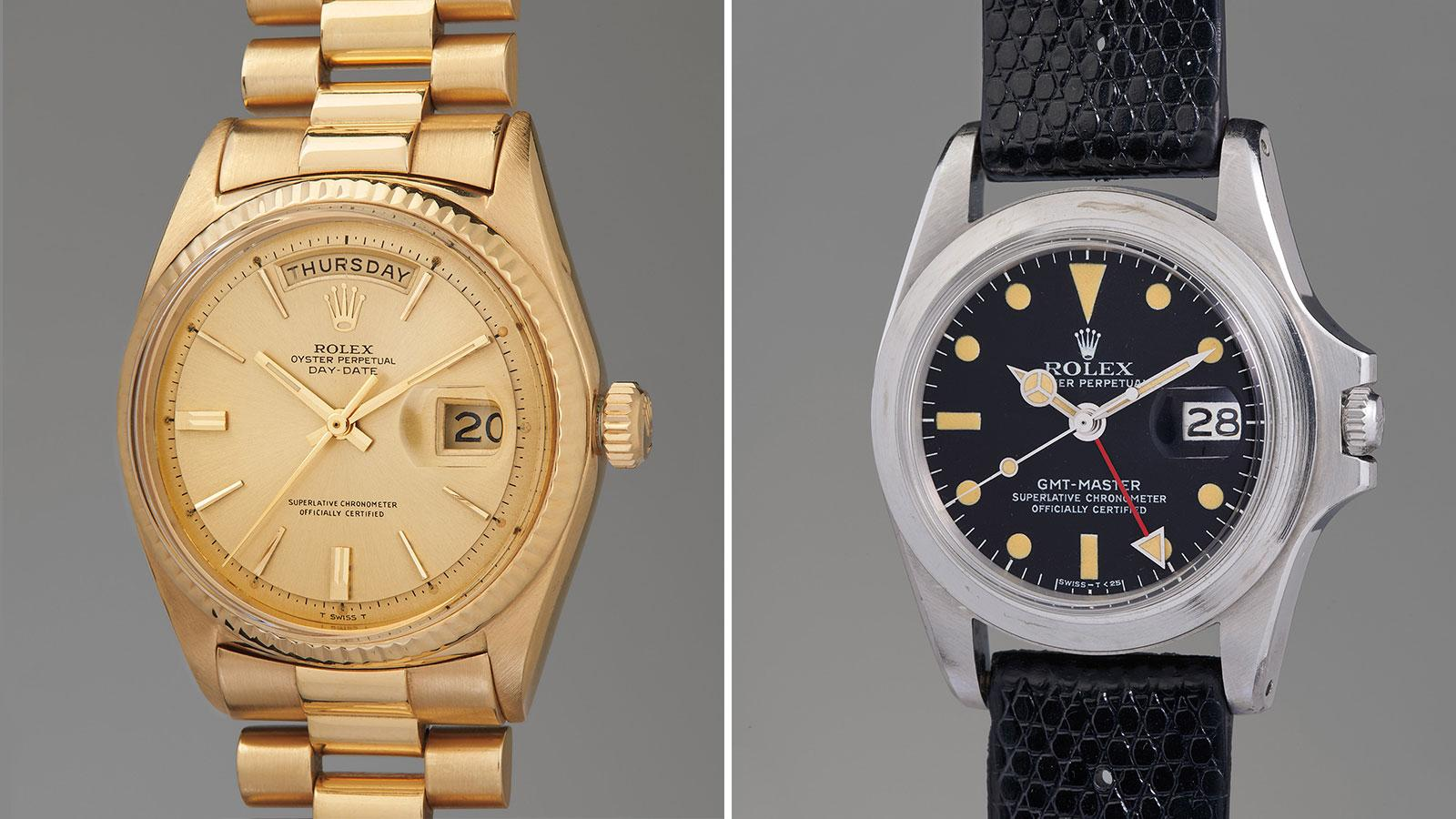 Jack Nicklaus' gold Rolex Day-Date Reference 1803, left, and Marlon Brando's Rolex GMT-Master Reference 1675.