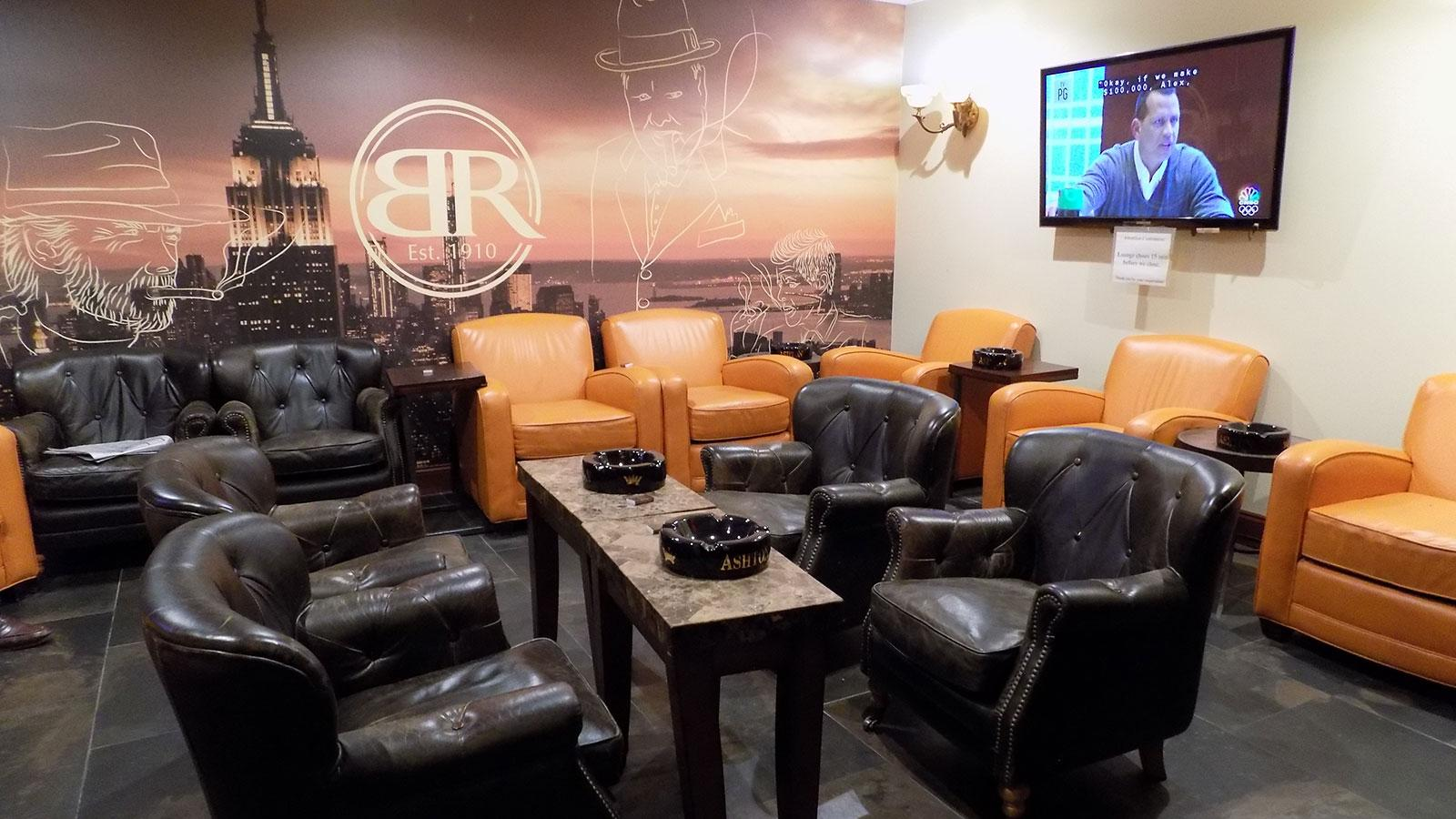 The smoking lounge on the lower-level of Barclay-Rex. Comfortable and inviting, this space is open to the public.
