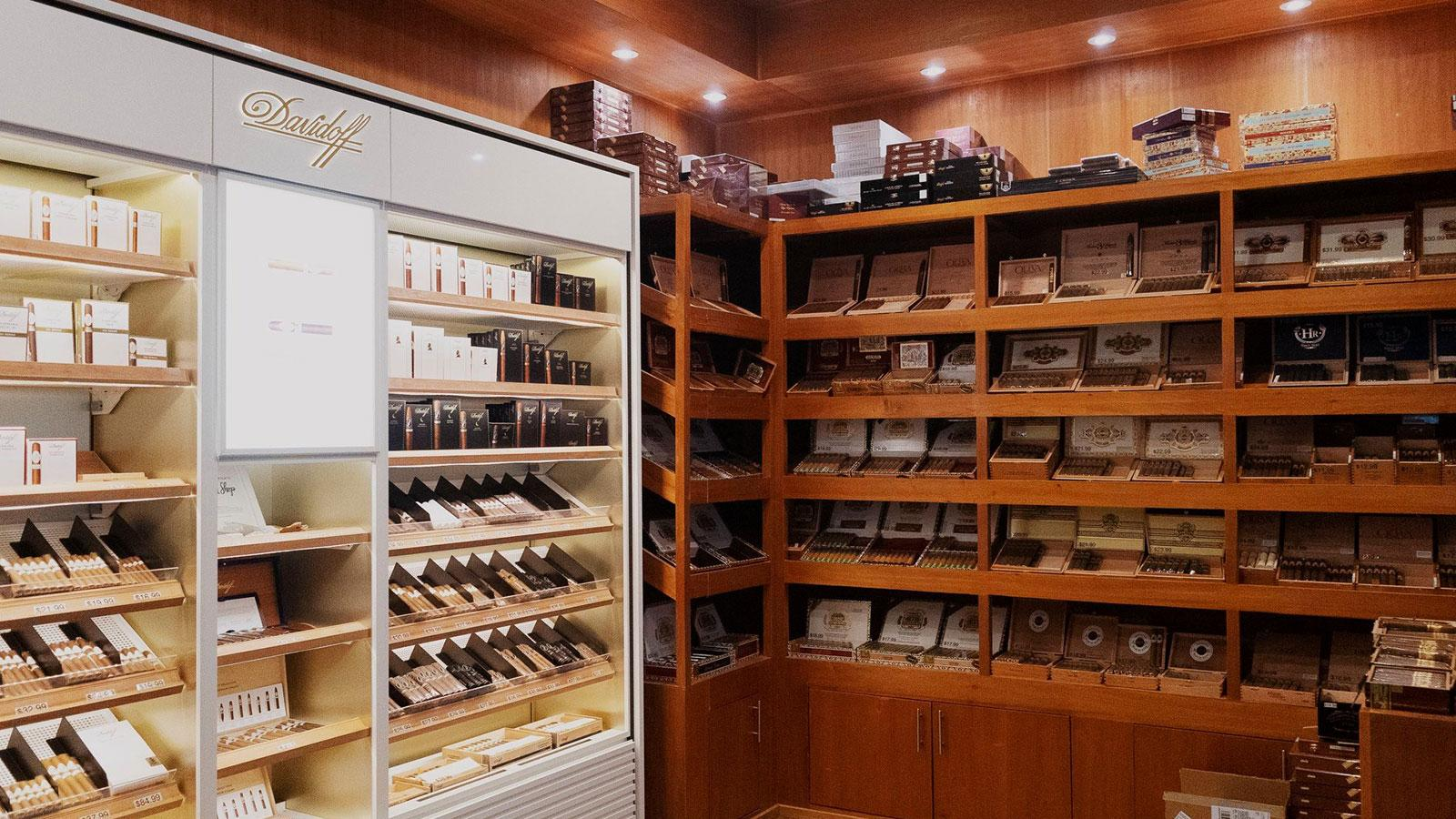 The humidor is stocked with cigars from Ashton, Padrón, Arturo Fuente, Davidoff, Avo, Oliva, HR, Zino Platinum and Plasencia..