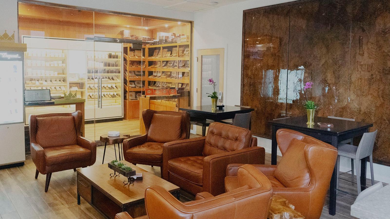 Walk in off the street and the humidor is right in front of you. So are 15 comfortable chairs in the lounge's public space. More chairs are on the patio.