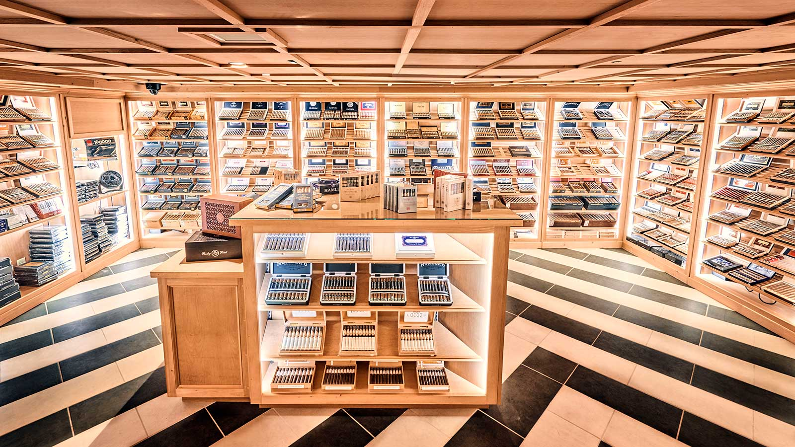 The walk-in humidor is stocked with the full collection of Rocky Patel cigars. Other big name brands in the humidor include Arturo Fuente, Ashton, Padrón and My Father.